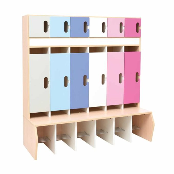 Kindergarten-Garderobe Blau-Flieder-Töne - Chamäleon 6 - Ahorn mit Türen 1