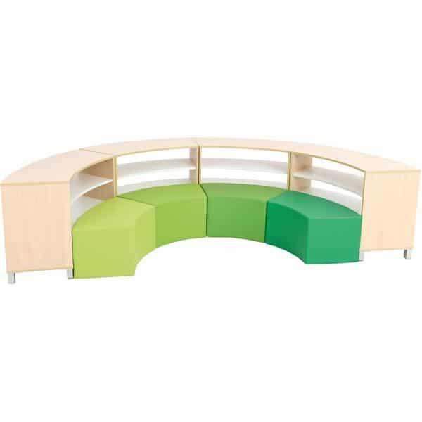 Sitzecke Paolo mit Schränken - innen - Grün-Töne - Ahorn (Quadro 137) 1