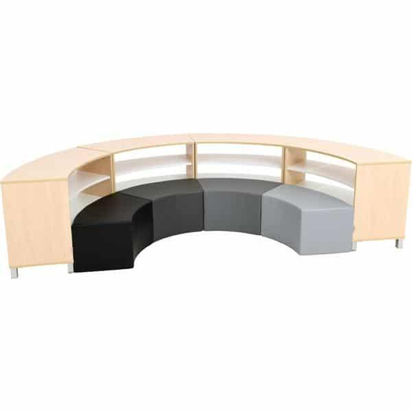 Sitzecke Paolo mit Schränken - innen - Grau-Töne - Ahorn (Quadro 138) 1