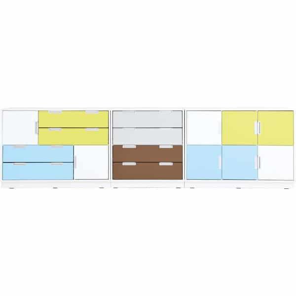 Möbelsatz Schrank M - weiß/gelb/grau - Quadro 136-180° - Weiß 1