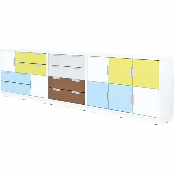Möbelsatz Schrank M - weiß/gelb/grau - Quadro 136-180° - Weiß 2