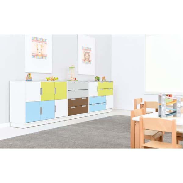 Möbelsatz Schrank M - weiß/gelb/grau - Quadro 136-180° - Weiß 3