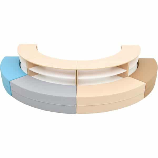 Sitzecke Paolo mit Schränken - außen - Blau-Beige-Töne - Ahorn (Quadro 153) 2