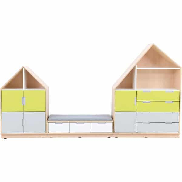 Möbelsatz Hausschrank - weiß/grau/limone - Quadro 157-180° - Ahorn 1