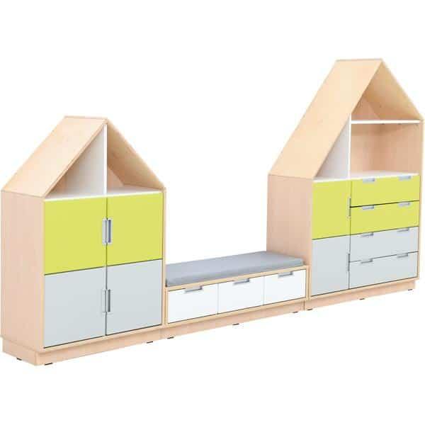 Möbelsatz Hausschrank - weiß/grau/limone - Quadro 157-180° - Ahorn 2