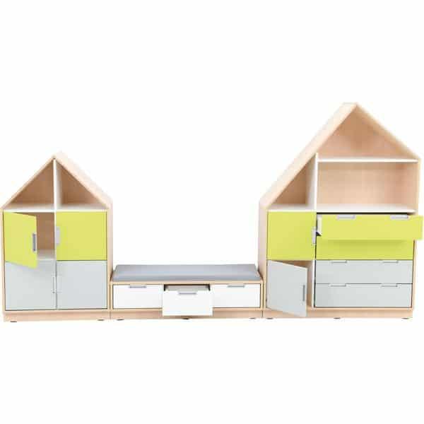 Möbelsatz Hausschrank - weiß/grau/limone - Quadro 157-180° - Ahorn 3