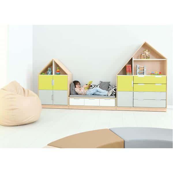 Möbelsatz Hausschrank - weiß/grau/limone - Quadro 157-180° - Ahorn 4