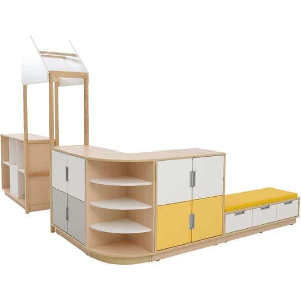 Möbelsatz Raumteiler-Schrank - weiß/gelb/grau - Quadro 174-180° - Ahorn 1