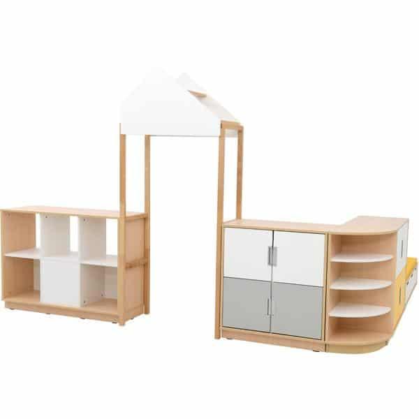 Möbelsatz Raumteiler-Schrank - weiß/gelb/grau - Quadro 174-180° - Ahorn 2