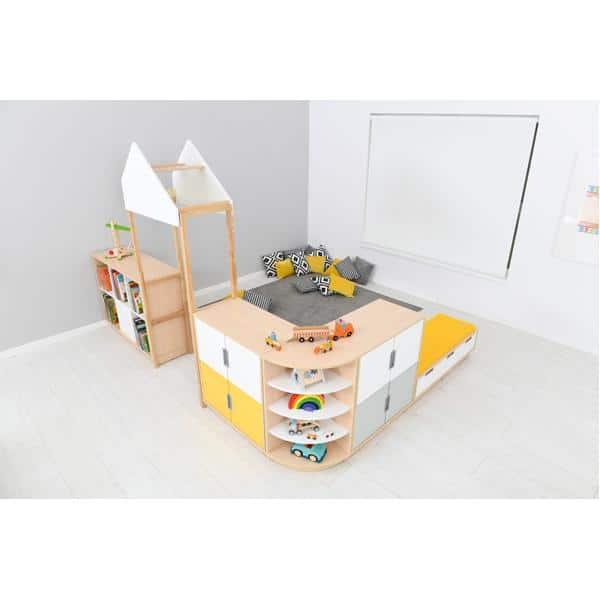 Möbelsatz Raumteiler-Schrank - weiß/gelb/grau - Quadro 174-180° - Ahorn 4