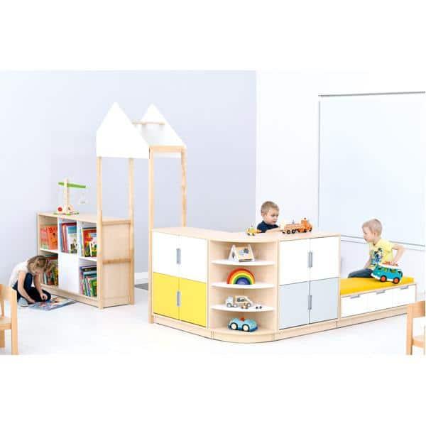 Möbelsatz Raumteiler-Schrank - weiß/gelb/grau - Quadro 174-180° - Ahorn 3