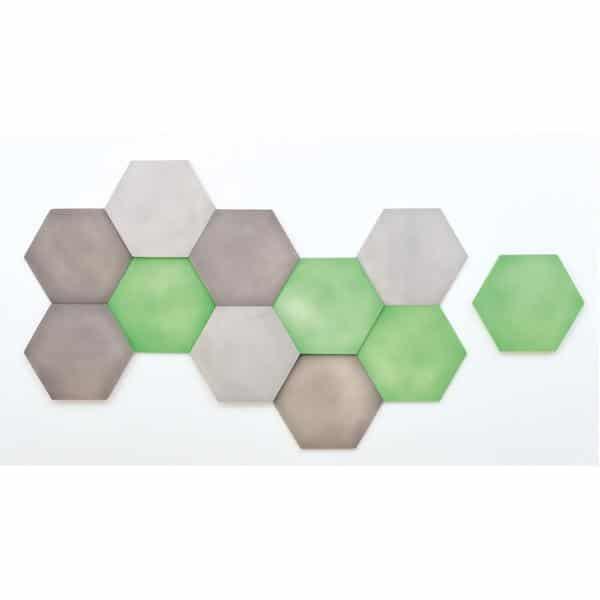 Akustik-Wandpaneele-Set - Sechsecke - platin/marengo/moosgrün 1