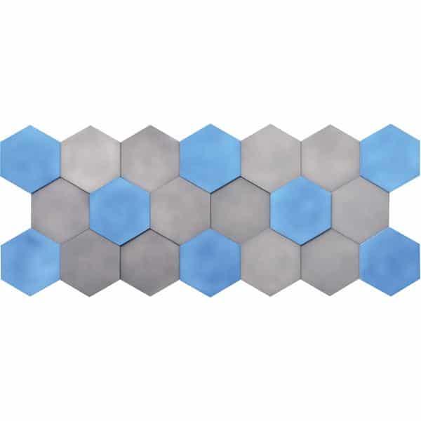 Akustik-Wandpaneele-Set - Sechsecke - blau/marengo 1