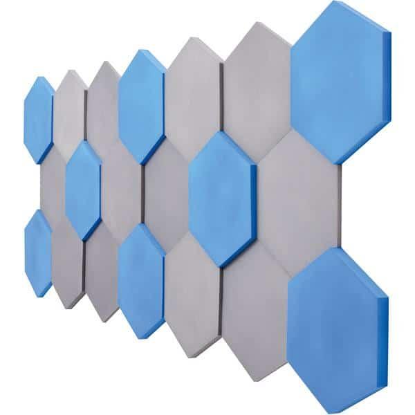 Akustik-Wandpaneele-Set - Sechsecke - blau/marengo 2