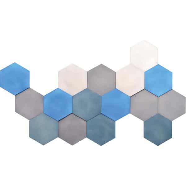 Akustik-Wandpaneele-Set - Sechsecke - platin/marengo/taubenblau/blau 1