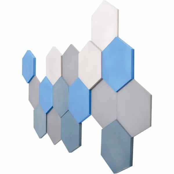 Akustik-Wandpaneele-Set - Sechsecke - platin/marengo/taubenblau/blau 2