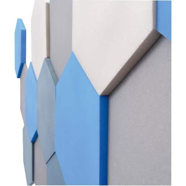 Akustik-Wandpaneele-Set - Sechsecke - platin/marengo/taubenblau/blau 3