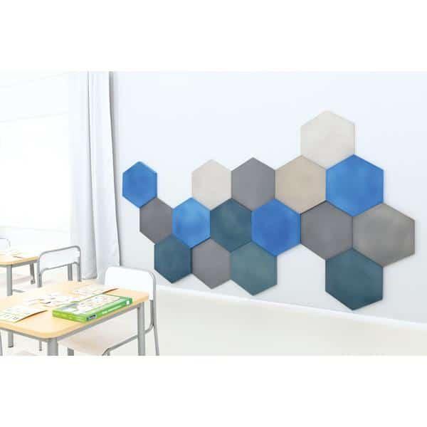 Akustik-Wandpaneele-Set - Sechsecke - platin/marengo/taubenblau/blau 4