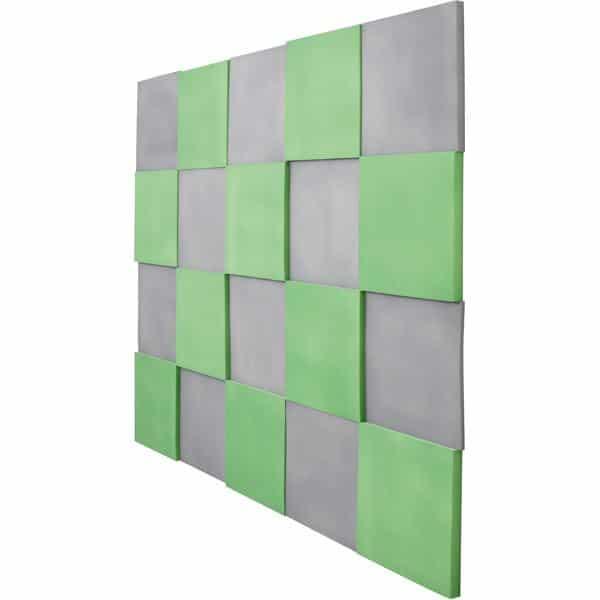 Akustik-Wandpaneele-Set - Quadrate - moosgrün/marengo 2