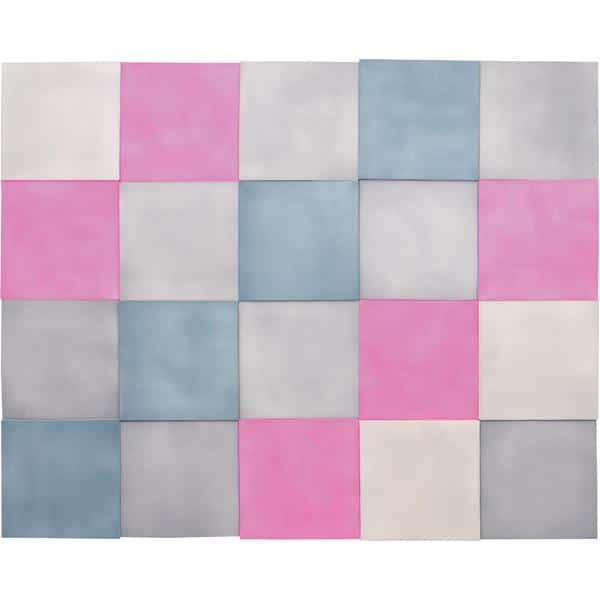Akustik-Wandpaneele-Set - Quadrate - taubenblau/platin/marengo/pink 1
