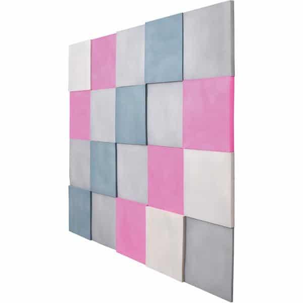 Akustik-Wandpaneele-Set - Quadrate - taubenblau/platin/marengo/pink 2