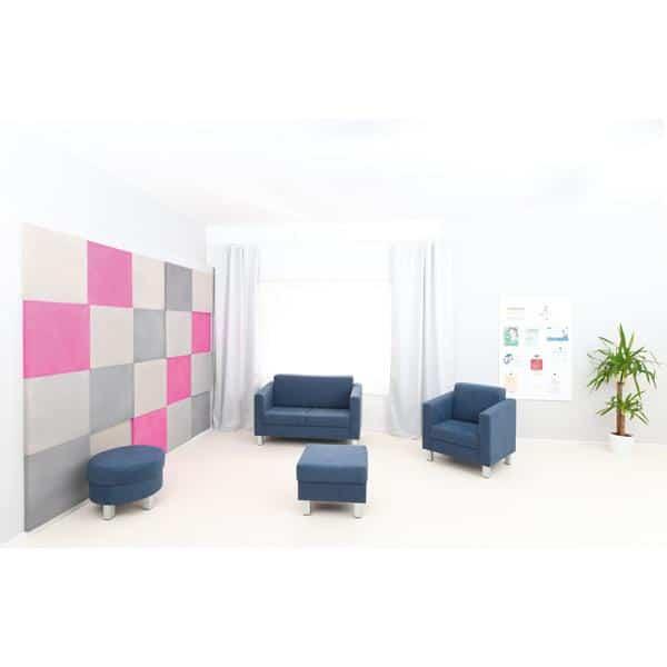 Akustik-Wandpaneele-Set - Quadrate - taubenblau/platin/marengo/pink 4