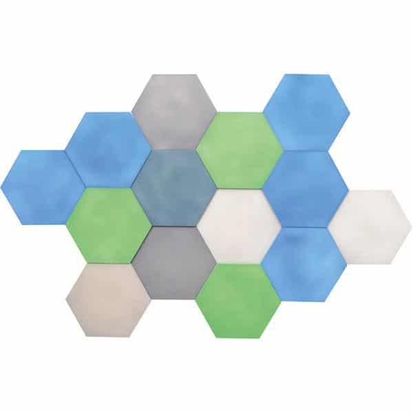 Akustik-Wandpaneele-Set - Sechsecke - platin/marengo/moosgrün/taubenblau/blau 1