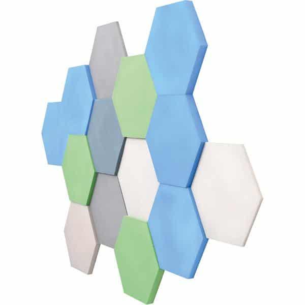 Akustik-Wandpaneele-Set - Sechsecke - platin/marengo/moosgrün/taubenblau/blau 2
