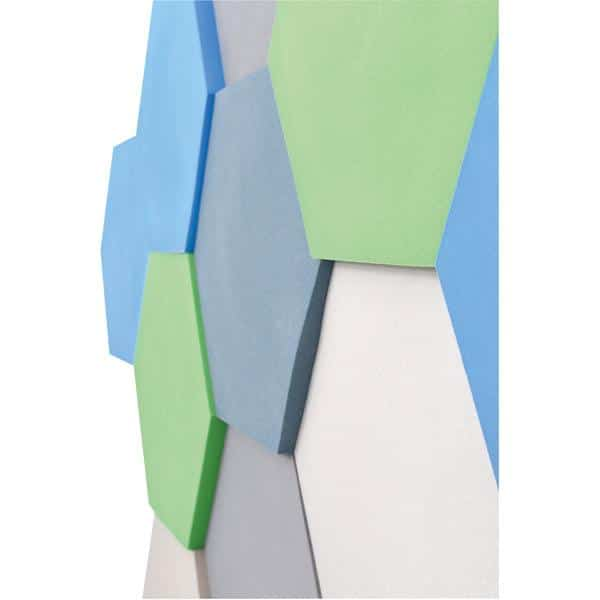 Akustik-Wandpaneele-Set - Sechsecke - platin/marengo/moosgrün/taubenblau/blau 3