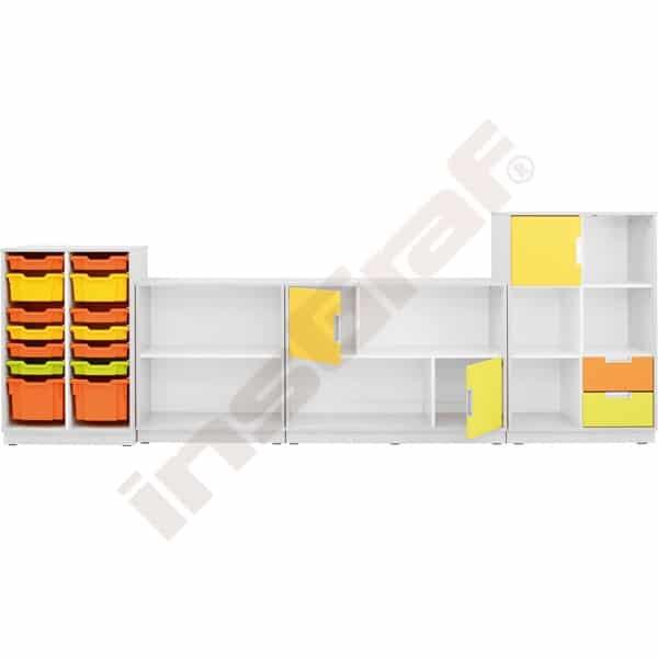 Möbelsatz Schrank M+L orange/gelb/limone - Quadro 86-180° - Weiß 2