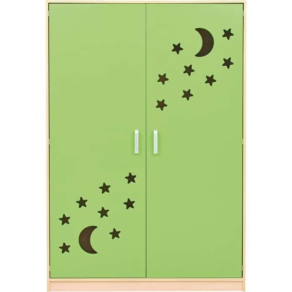 Schrank für Kindergartenbetten 501001 - Türen grün - lackiert 3