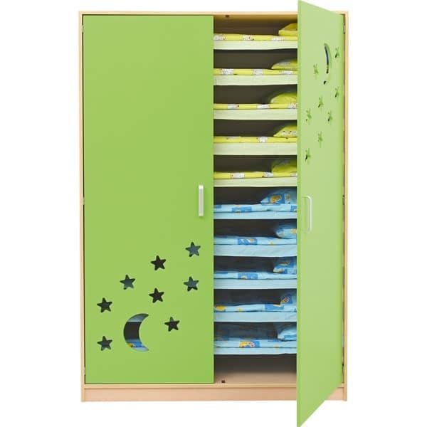 Schrank für Kindergartenbetten 501001 - Türen grün - lackiert 1