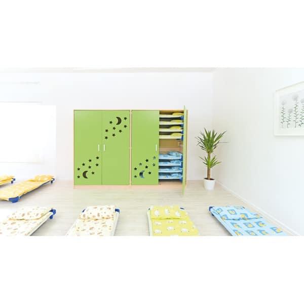 Schrank für Kindergartenbetten 501001 - Türen grün - lackiert 10