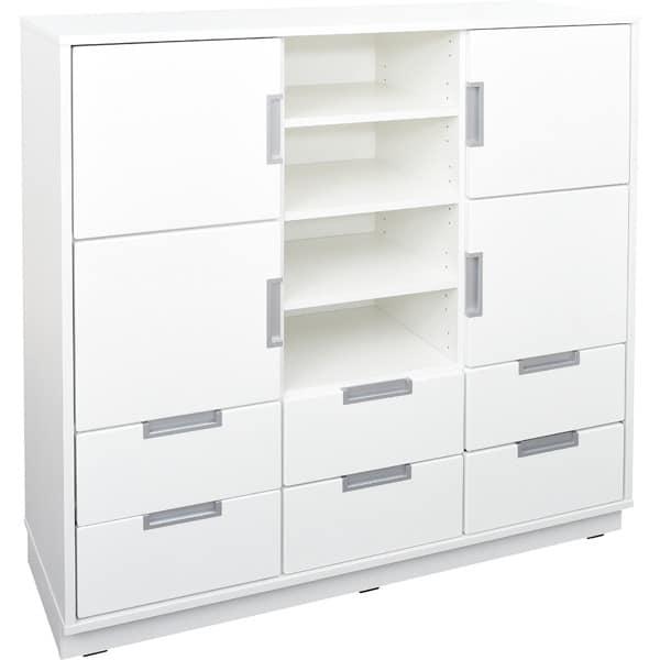 Schrank L mit 4 Türen und 6 Schubladen - Breite: 116 cm - weiß (Quadro 113-180°) 1