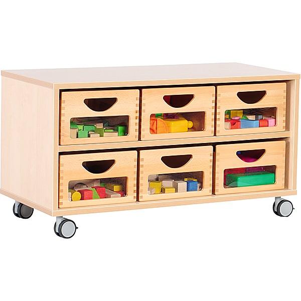 Kindergarten-Schrank S - auf Rollen + 6 Behälter mit Sichtfenster (Flexi 1) 1