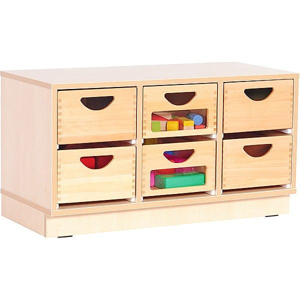 Kindergarten-Schrank S mit 2 Trennwänden - auf Sockel + 6 Behälter (2 mit/4 ohne Sichtfenster)(Flexi 9) 1