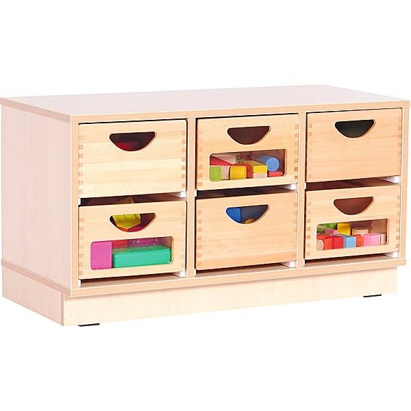 Kindergarten-Schrank S mit 2 Trennwänden - auf Sockel + 6 Behälter (3 mit/3 ohne Sichtfenster) (Flexi 10) 1