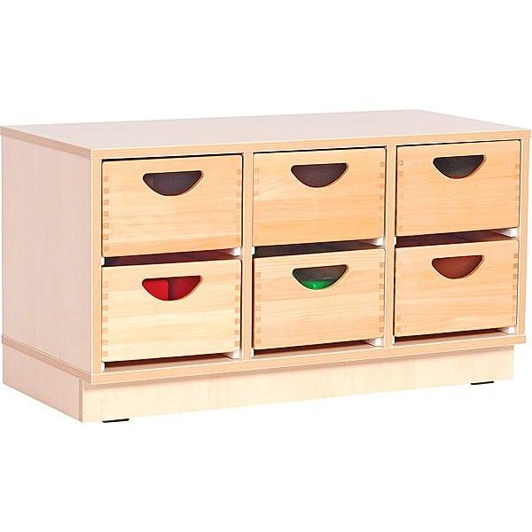 Kindergarten-Schrank S mit 2 Trennwänden - auf Sockel + 6 Holzbehälter (Flexi 3) 1