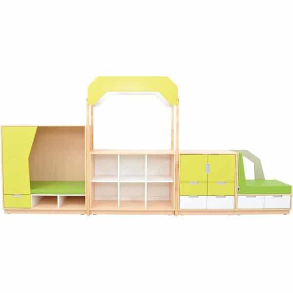 Möbelsatz Versteck-Schrank+M - limone/weiß - Quadro 8-180° - Weiß 1
