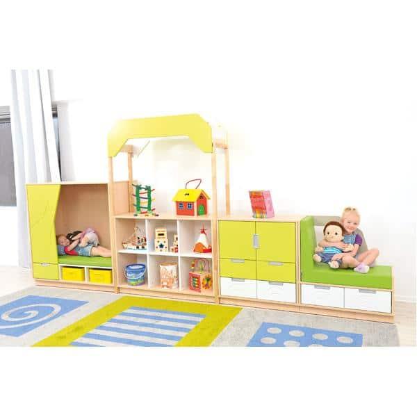 Möbelsatz Versteck-Schrank+M - limone/weiß - Quadro 8-180° - Weiß 2