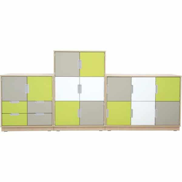 Möbelsatz Schrank M+L - weiß/grau/limone - Quadro 1-180° - Ahorn 1