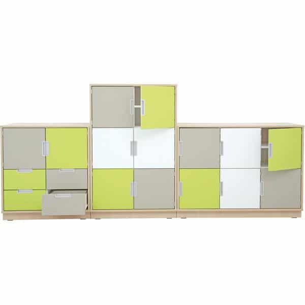 Möbelsatz Schrank M+L - weiß/grau/limone - Quadro 1-180° - Ahorn 2