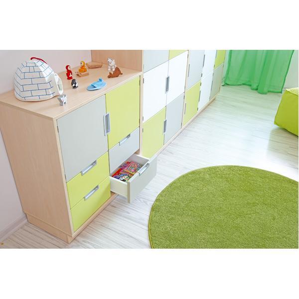 Möbelsatz Schrank M+L - weiß/grau/limone - Quadro 1-180° - Ahorn 3