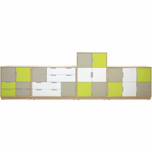 Möbelsatz Schrank M+L inkl. Schubladen - Quadro 2-180° - Ahorn 1