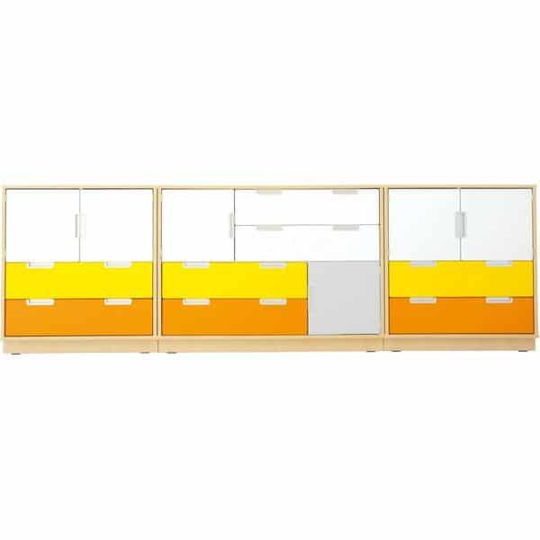 Möbelsatz Schrank M - weiß/grau/gelb/orange - Quadro 4-180° - Ahorn 1