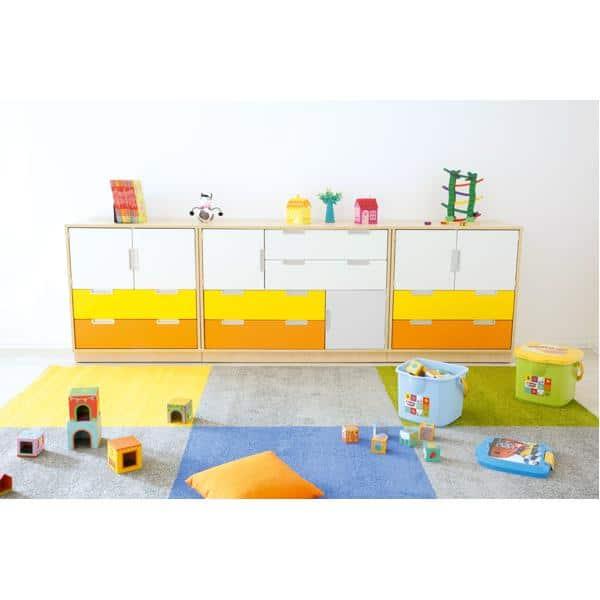 Möbelsatz Schrank M - weiß/grau/gelb/orange - Quadro 4-180° - Ahorn 2