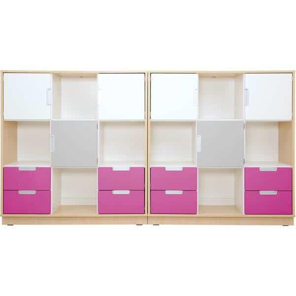 Möbelsatz Schrank L - weiß/grau/magenta - Quadro 5-180° - Ahorn 1