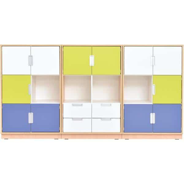 Möbelsatz Schrank L - weiß/blau/limone - Quadro 13-180° - Ahorn 1