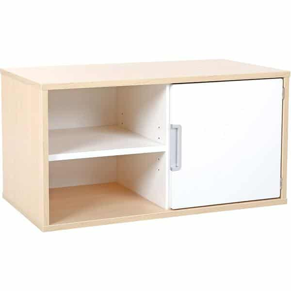 Hängeregal mit 1 Tür - Breite: 79 cm - Ahorn - weiß (Quadro 37-180°) 1