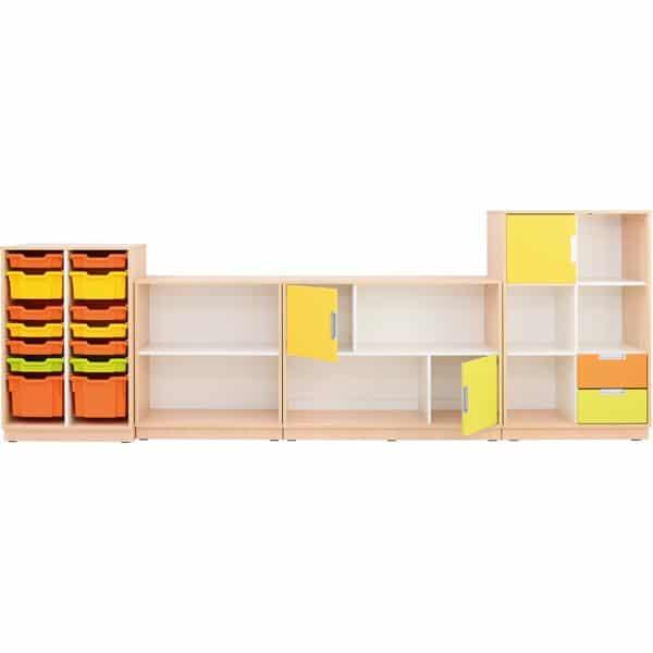 Möbelsatz Schrank M+L orange/gelb/limone - Quadro 86-180° - Ahorn 1